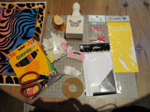 Raw materials for making Easter cards with my three nieces